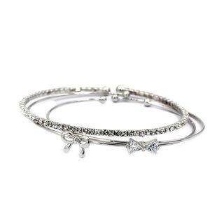 Fashion silver hoop bow knot crystal bracelet